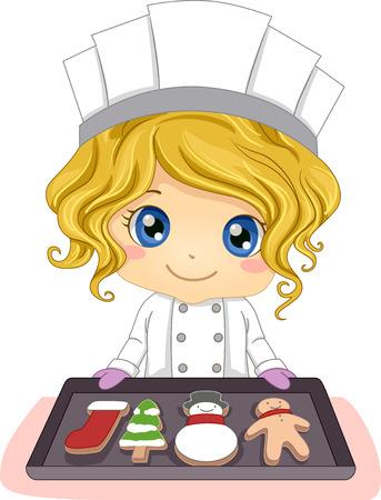 baking: Illustration of a Little Girl Baking Pastries Shaped Like Christmas Symbols