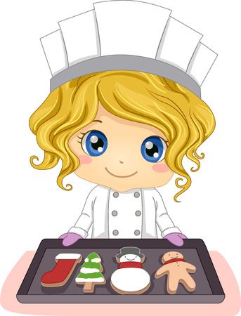 Illustration of a Little Girl Baking Pastries Shaped Like Christmas Symbols