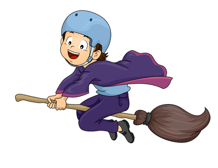 Illustration of a Little Warlock Wearing a Helmet While Riding a Broomstick Stock Photo