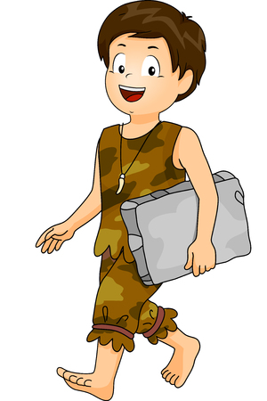 caveman cartoon: Illustration of a Little Boy Dressed as a Caveman Carrying a Block of Stone going to school Stock Photo