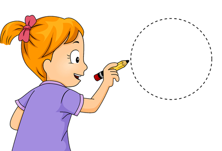 Illustration of a Little Girl Drawing a Circle Stock Photo
