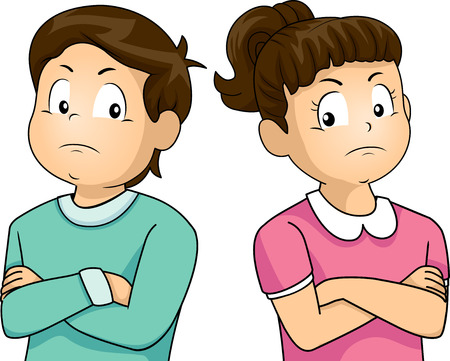 Illustration of a Little Girl and Boy Ignoring Each Other Stock Photo