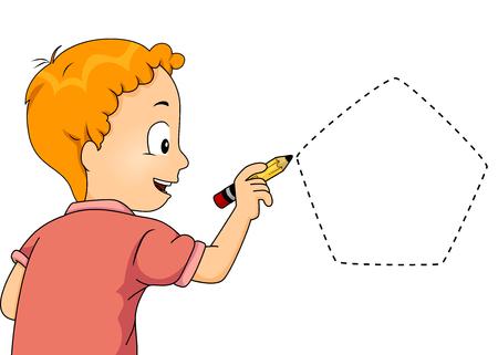 pentagon: Illustration of a Little Boy Drawing a Pentagon