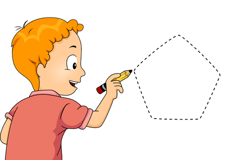 Illustration of a Little Boy Drawing a Pentagon
