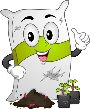 seedlings: Mascot Illustration of a Fertilizer Sack Standing in Front of Seedlings