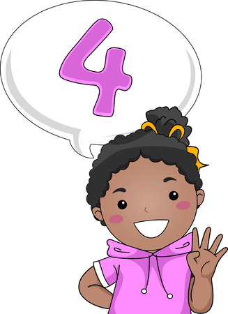 Illustration of a Little Girl Gesturing the Number 4 Stock Photo