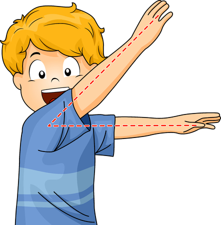 Illustration of a Little Boy Gesturing an Acute Angle Stock Photo