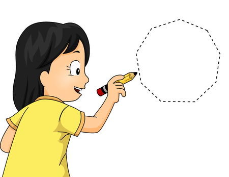 heptagon: Illustration of a Little Girl Drawing a Nonagon