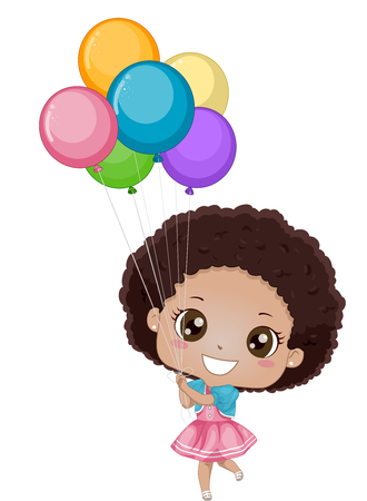 Illustration of a Little African Girl Holding on to Colorful Balloons Stock Photo