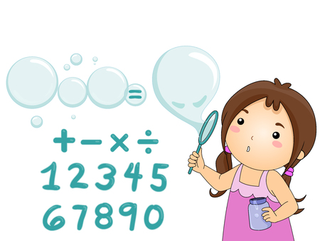 grade schooler: Illustration of a Little Girl Blowing Bubbles Over Math Symbols