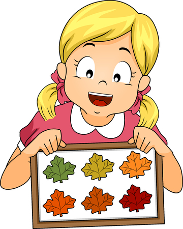 Illustration of a Little Girl Showing a Framed Collection of Autumn Leaves