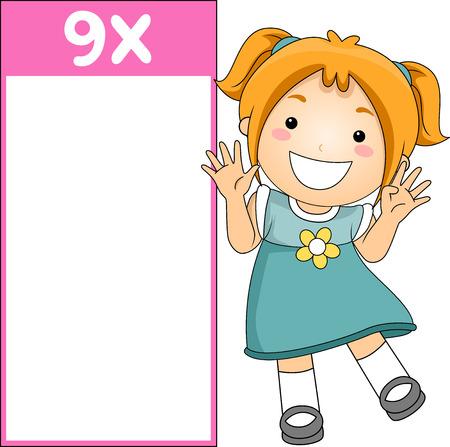 Illustration of a Multiplication Flash Card for Multiples of Nine