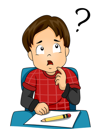 schooler: Illustration of a Confused Little Boy Thinking to Himself