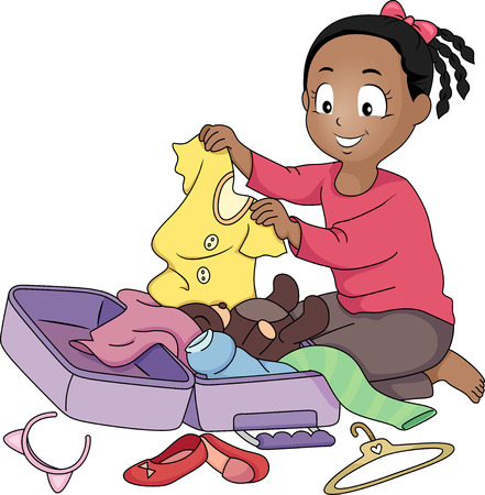 suitcase packing: Illustration of a Little Girl Packing Her Things in a Suitcase
