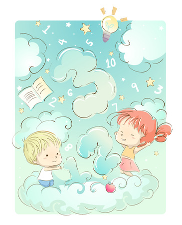 dreamland: Whimsical Illustration of Kids Playing with Number Shaped Games