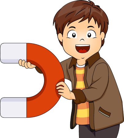 Illustration of a Little Boy Playing with a Big Magnet