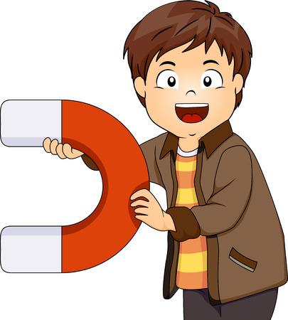 Ilustración de un niño jugando con un gran imán