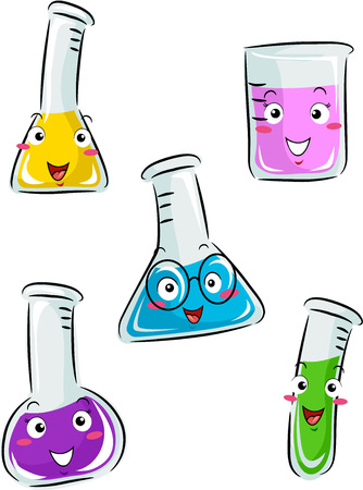 Mascot Illustration of Laboratory Tools Containing Different Chemicals