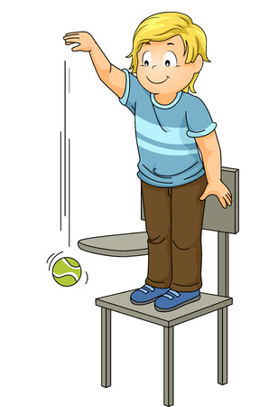 experiments: Illustration of a Little Boy Dropping a Ball from a High Position Stock Photo