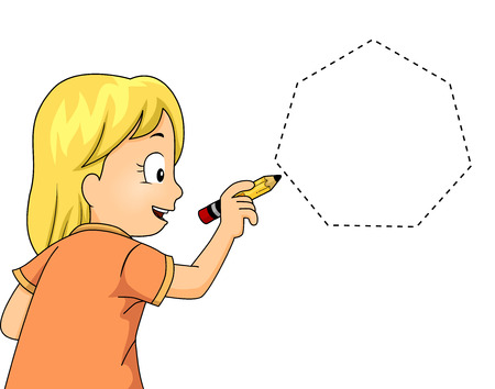 heptagon: Illustration of a Little Girl Drawing a Heptagon