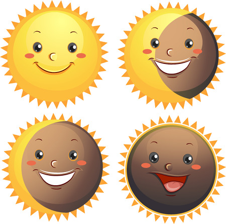 eclipse: Mascot Illustration Showing the Different Types of Solar Eclipse