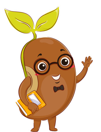 Mascot Illustration of a Glasses Wearing Seedling Carrying a Book