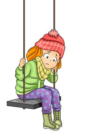 Ilustracja Smutna dziewczyna siedzi na huśtawce