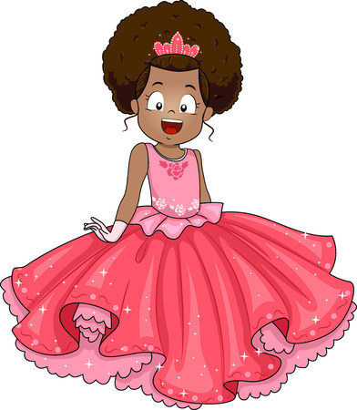 Illustratie van een kleine Afrikaanse meisje, gekleed in een Prinses Kostuum Stockfoto