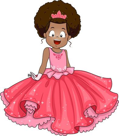 Ilustración de una niña africana vestido en un traje de la princesa