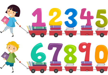 Stickman Illustration of Kids Pulling a Cart Carrying Numbers Stock Photo