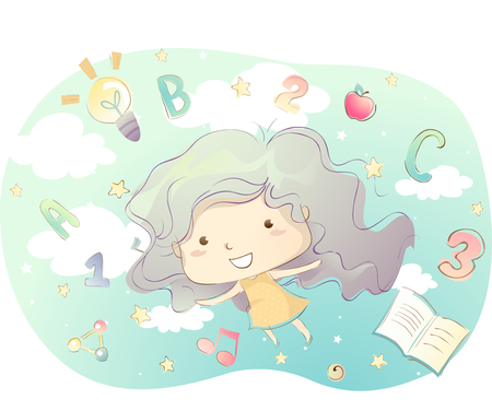 grade schooler: Illustration of a Little Girl Going on an Educational Adventure
