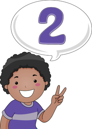 Illustration of a Little Boy Gesturing the Number 2