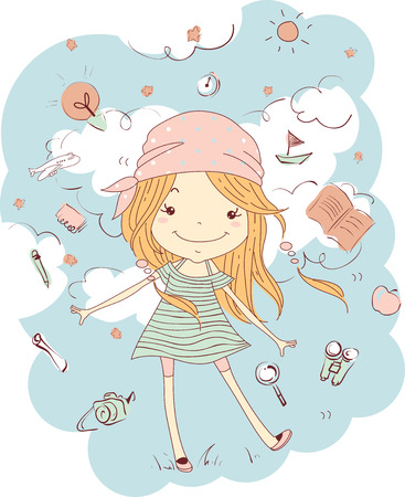 bandana girl: Illustration of a Little Girl in a Dress and Bandana Surrounded by Travel Essentials Stock Photo