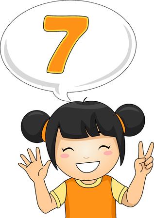 Illustration of a Little Girl Gesturing the Number Seven Foto de archivo