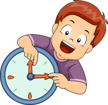 Illustrazione di un bambino imparare a leggere l'ora sull'orologio