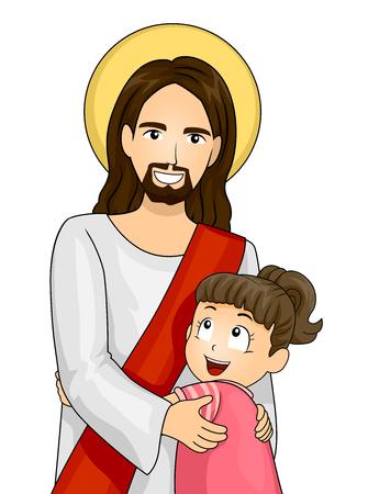 Ilustración de una niña que abraza firmemente Jesús