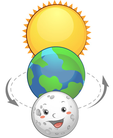 Mascot Illustration of the Earth Sandwiched Between the Sun and the Moon Stock Photo