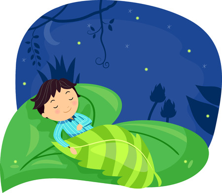 Illustration of a Little Boy Sleeping Soundly on a Giant Leaf Stock Photo