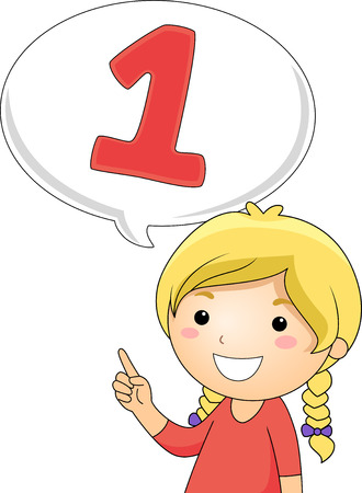 Illustration of a Little Girl Gesturing the Number 1