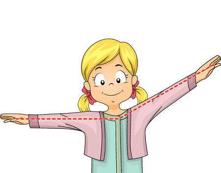 Illustration of a Little Girl Gesturing an Obtuse Angle