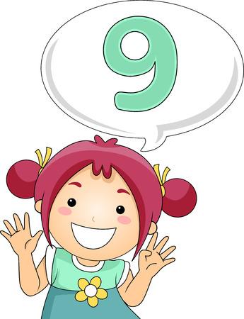 grade schooler: Illustration of a Little Girl Gesturing the Number Nine