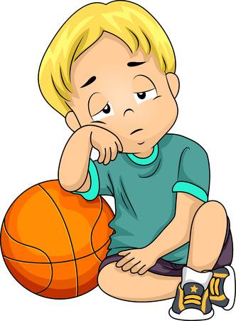 Illustratie van een Little Boy Moe na het spelen van basketbal