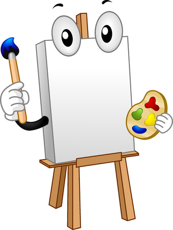 Mascot Illustration of a Blank Canvas Holding a Palette and a Paintbrush Stock Photo