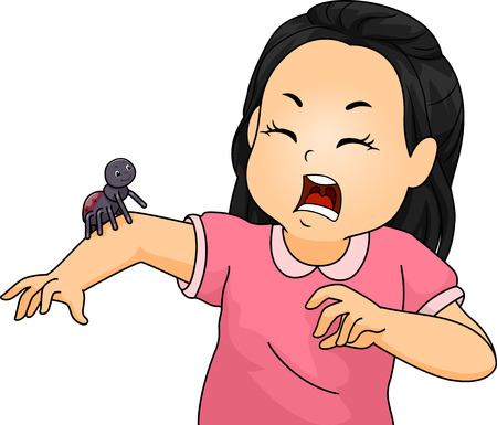 scared: Illustration of a Little Girl Shrieking After Seeing a Spider