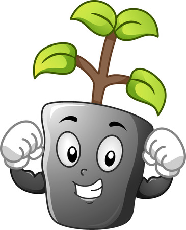 Mascot Illustration of a Seedling Flexing its Biceps Stock Photo