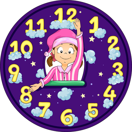 imitating: Illustration of a Little Girl in Pajamas Imitating the Hands of a Clock
