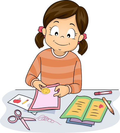 Illustration of a Little Girl Making Homemade Greeting Cards