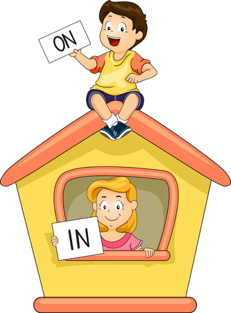 esl: Illustration of a Little Boy and Girl Demonstrating The Use of In and On Stock Photo
