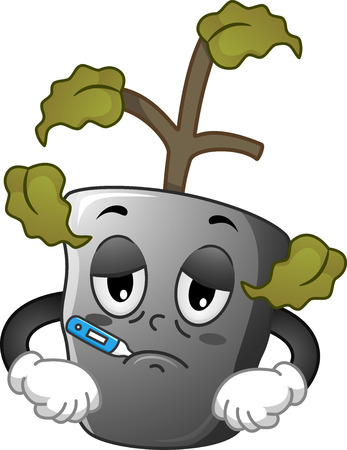 dying: Mascot Illustration of a Sick Seedling with a Thermometer in its Mouth