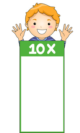multiples: Illustration of a Little Boy Leaning Against a Multiplication Flash Card for Multiples of Ten Stock Photo
